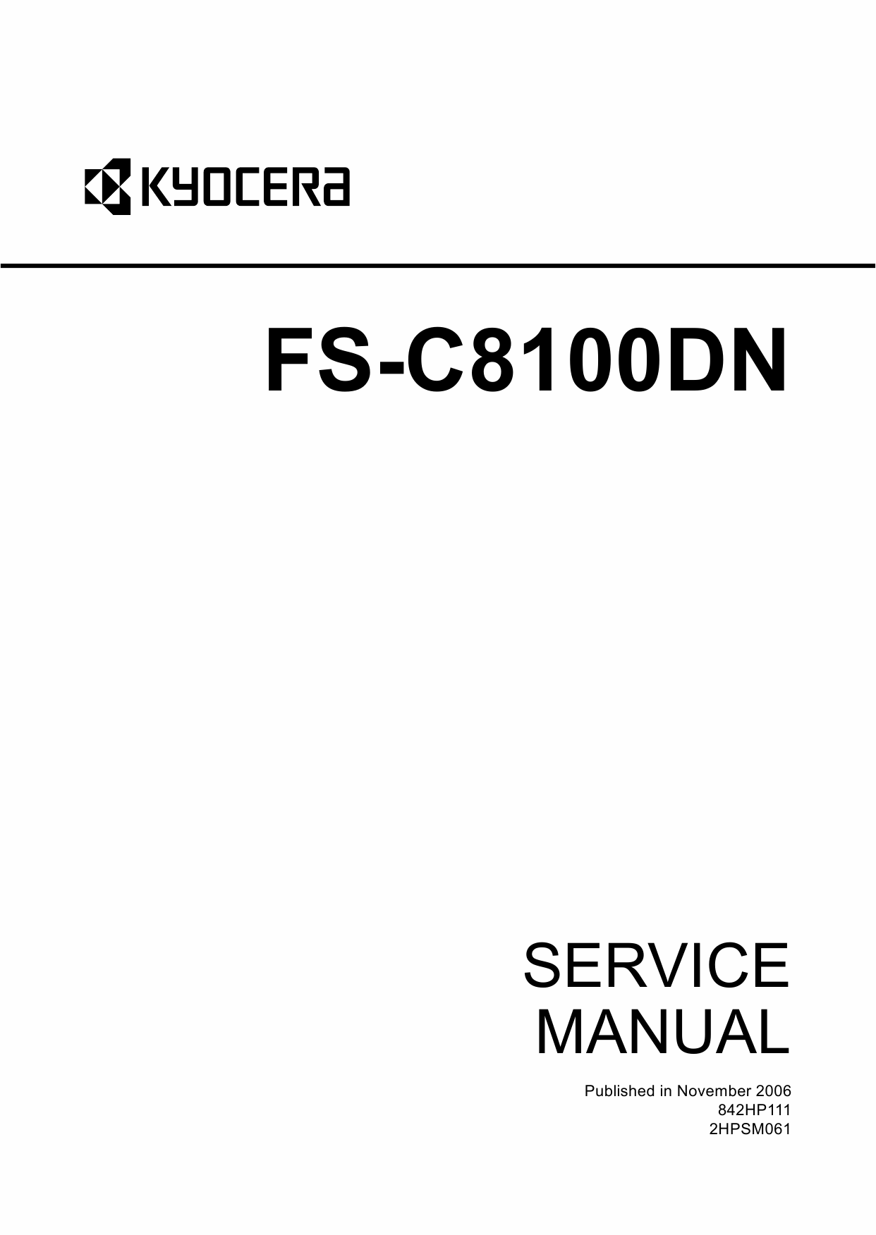 KYOCERA ColorLaserPrinter FS-C8100DN Parts and Service Manual-1
